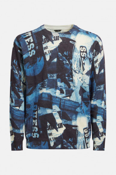 BLUE-BLACK-WHITE MAN'S GUESS PULLOVER KEER ALLO