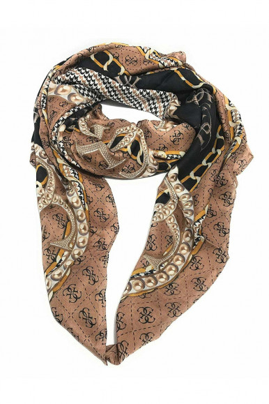 GUESS KEFIAH MARRONE DONNA CON STAMPA