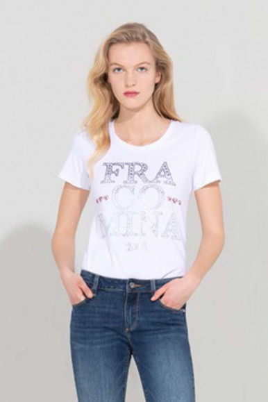 WHITE WOMAN'S FRACOMINA T-SHIRT WITH STRASS