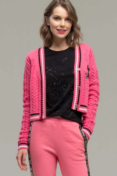 PINK WOMAN'S FRACOMINA MICKY MOUSE CARDIGAN