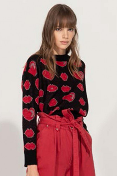 BLACK-RED WOMAN'S FRACOMINA JERSEY WITH HEARTS AND MOUTHS