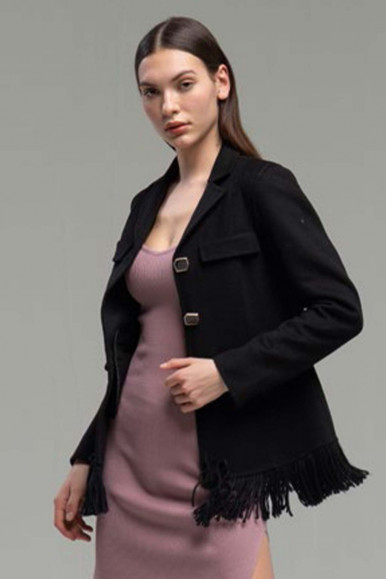 BLACK WOMAN'S JACKET WITH FRINGES