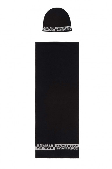 BLACK MAN'S ARMANI EXCHANGE CAP AND SCARF 954651