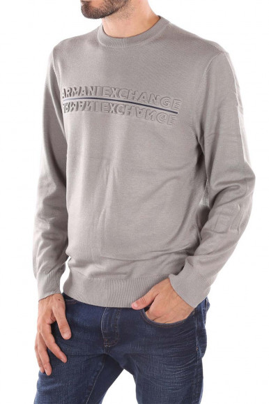 GREY MAN'S ARMANI EXCHANGE PULLOVER WITH LETTERING 6KZM1F
