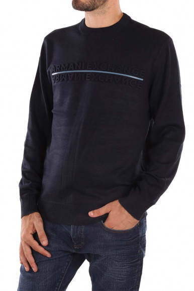 NAVY MAN'S ARMANI EXCHANGE PULLOVER WITH LETTERING 6KZM1F