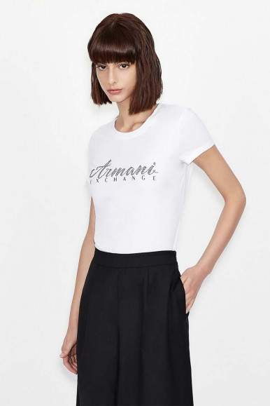 WHITE WOMAN'S ARMANI EXCHANGE T-SHIRT WITH STRASS 8NYT91