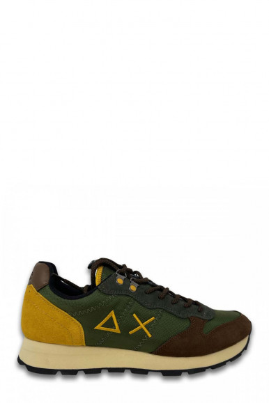 SUN 68 MAN'S MILITARY GREEN-YELLOW SNEAKERS TOM GOES  Z41108