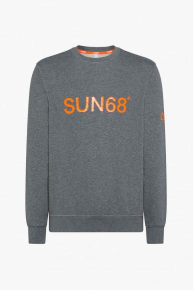 GREY-ORANGE MAN'S SUN 68 ROUND SWEATSHIRT F41118