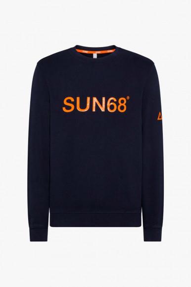 SUN 68 FELPA BLU-ARANCIO ROUND UOMO F41118