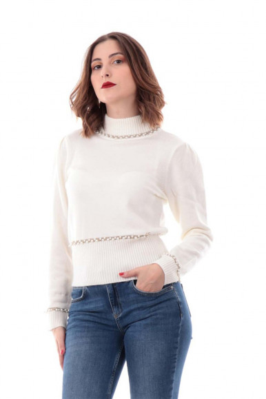 LUPETTO BIANCO CON PERLE YES-ZEE DONNA M036