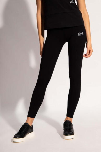 BLACK-SILVER WOMAN'S EA7 LEGGINGS 6KTP85