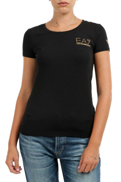 BLACK-GOLD WOMAN'S EA7 T-SHIRT 8NTT65