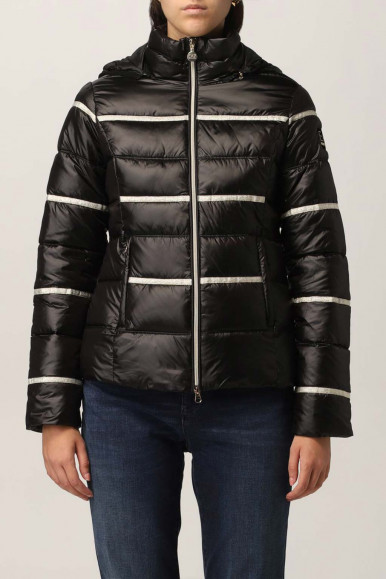 BLACK WOMAN'S EA7 BOMBER WITH WHITE LINES 6KTB03