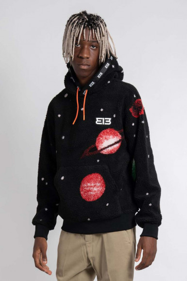 BLACK MAN'S 313 HOODIE WITH PLANETS 4DM666