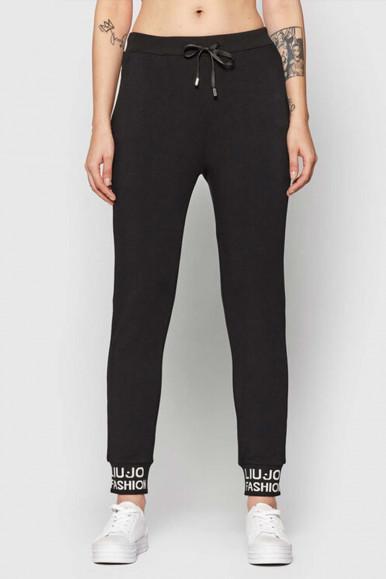 Pantalone felpato Liu Jo nero donna con scritte 1118