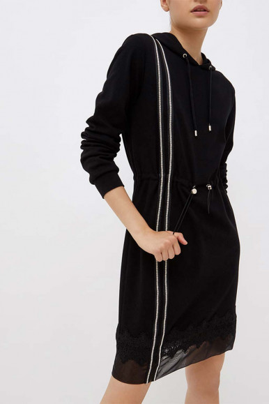 Black woman's Liu Jo dress with hood and strass 1180