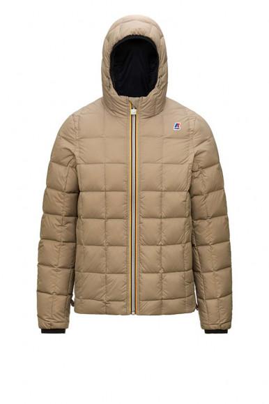 Black-beige man's K-Way reversibile Thermo Plus Jacket