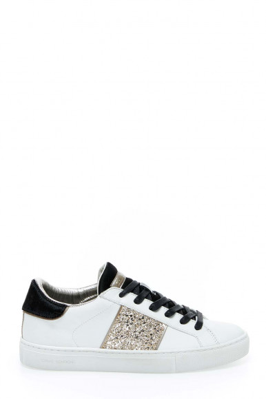 Sneakers bianco-argento donna Crime London 24425