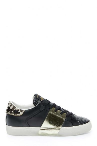 Sneakers Crime London nero-oro donna 24301