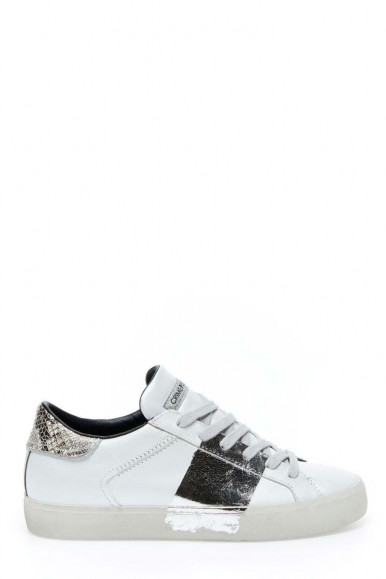 Sneakers Crime London bianco-argento donna 24300