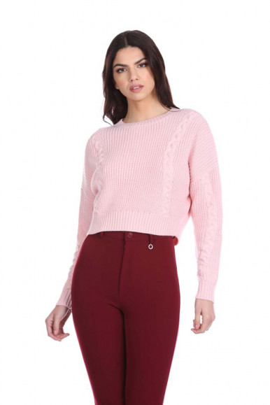 RELISH PINK WOMAN'S SWEATER WITH BRAIDS TRYNER