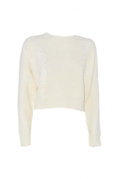 RELISH CREAM WOMAN'S SWEATER WITH BRAIDS TRYNER