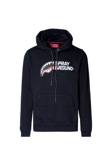 Felpa con cappuccio nero uomo mezzo logo Sprayground 102