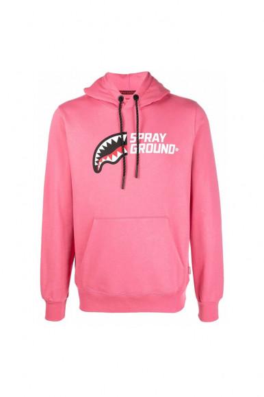 Felpa con cappuccio rosa uomo mezzo logo Sprayground 102